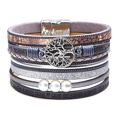cheap Bracelets-Women's Classic Stylish Leather Bracelet Wide Bangle Leather Creative Tree of Life life Tree Ladies Simple Trendy Fashion Bracelet Jewelry Gray / Brown / Blue For Carnival Birthday