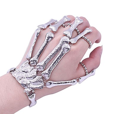 billige Motearmbånd-Dame Ringarmbånd Vintage Stil Hodeskalle Statement damer trendy Chrome Armbånd Smykker Sølv Til Halloween Gave Cosplay Kostumer