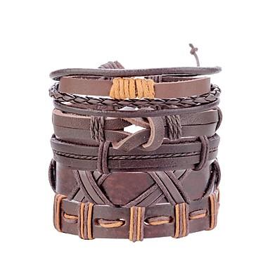 voordelige Herensieraden-Heren Lederen armbanden loom Bracelet Retro Gevlochten Bladvorm Uil Statement Modieus Henneptouw Armband sieraden Zwart / Bruin / Donker rood Voor Straat Bar