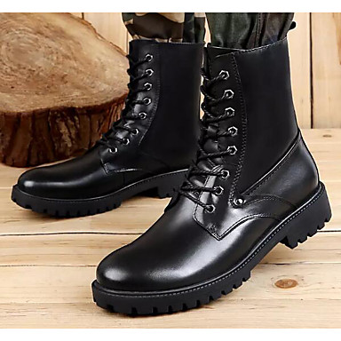 Men's Comfort Winter Shoes PU(Polyurethane) Fall & Winter Comfort Boots Mid-Calf Boots Black c530d6