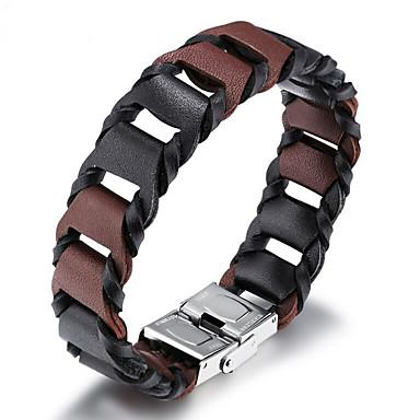 voordelige Herensieraden-Heren Wikkelarmbanden Lederen armbanden loom Bracelet Cut Out Stijlvol Punk Rock aitoa nahkaa Armband sieraden Bruin Voor Straat / Titanium Staal