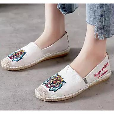 Women's Espadrilles Linen Summer Loafers & Slip-Ons Black Flat Heel White / Black Slip-Ons 0e2cfc