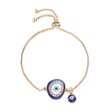 abordables Bracelet-Bracelet Pendentif Femme Zircon Strass Mauvais œil Branché Ethnique Mode Bracelet Bijoux Bleu de minuit Bleu clair pour Quotidien Mascarade Vacances
