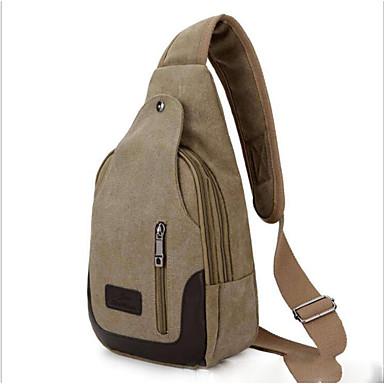 baratos Super Ofertas-Homens Ziper Tela de pintura Sling sacos de ombro Bolsas de Lona Verde Claro / Marron / Khaki