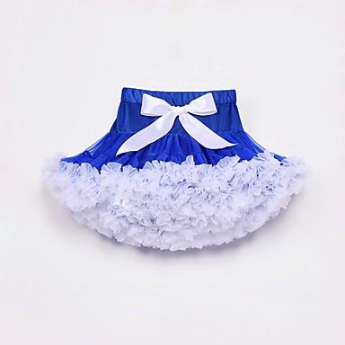 baratos Saias para Meninas-Infantil Bébé Para Meninas Activo Moda de Rua Diário Para Noite Azul e Branco Estampa Colorida Saia Branco