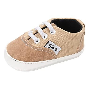 voordelige Babyschoenentjes-Jongens / Meisjes Canvas Platte schoenen Peuter (9m-4ys) Comfortabel / Eerste schoentjes Veters Blauw / Roze / Khaki Lente & Herfst / Winter