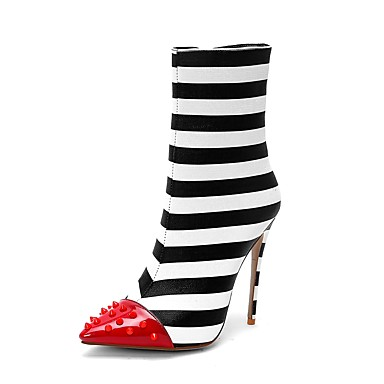 povoljno Ženske čizme-Žene Fashion Boots Sintetika Jesen zima Uglađeni Čizme Stiletto potpetica Krakova Toe Čizme do pola lista Zakovica Crno-bijeli / Vjenčanje / Prugasti uzorak