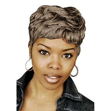 povoljno Perike i ekstenzije-Ljudski kose bez kaplama Ljudska kosa / 50% ljudske kose i 50% visoke kvalitete sintetički Wavy / Prirodne kovrče Pixie frizura / Stepenasta frizura / Kratke frizure 2019 Berry Stil Afro-američka