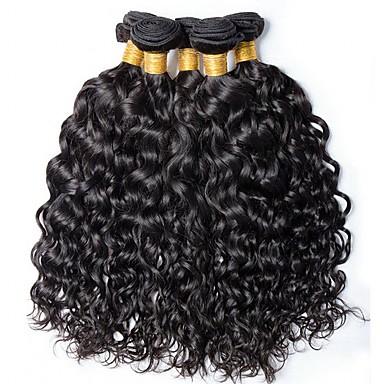 voordelige Weaves van echt haar-6 bundels met sluiting Braziliaans haar Watergolf Onbehandeld haar Menselijk haar weeft Bundle Hair Een Pack Solution 8-28inch Natuurlijke Kleur Menselijk haar weeft Schattig Modieus Design Geschenk