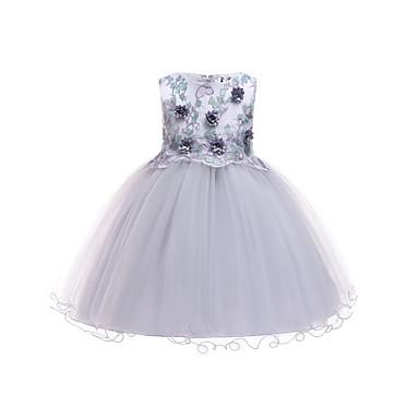 رخيصةأون ملابس الأميرات-فستان طول الركبة بدون كم طباعة ورد مناسب للحفلات / مناسب للعطلات رياضي Active / حلو للفتيات أطفال