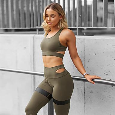 Umorismo Per Donna Tagliato Tuta Yoga Nero Verde Militare Blu Gli Sport Elastene Pantalone - Sovrapantaloni Bra Top Completo Tuta Zumba Danza Corsa Abbigliamento Sportivo Design Anatomico Compressione #06950130