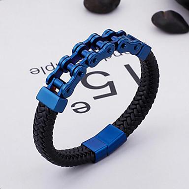voordelige Herensieraden-Heren Lederen armbanden Magnetisch modieus Rock 18 Karaats Verguld Armband sieraden Goud / Zilver / Blauw Voor Straat / Titanium Staal / Platina Verguld