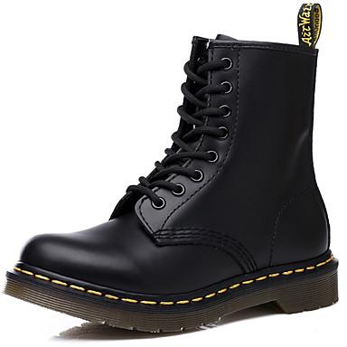 Muškarci Vojničke čizme Koža Zima Klasik / Ležerne prilike Čizme Ugrijati Čizme do pola lista Crn / Lila-roza / Vanjski