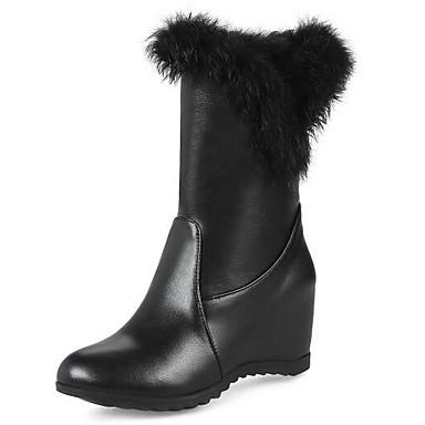 Femme Fashion Boots Polyuréthane Hiver Bottes Talon Plat Bout Demi fermé Bottine / Demi Bout Botte Blanc / Noir 4e5eb3