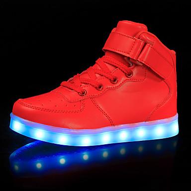 בגדי ריקוד גברים אור נעליים PU אביב קיץ יום יומי נעלי ספורט לבן / שחור / אדום