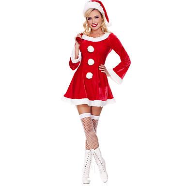 Disfraces de Santa Santa vestir Mujer Adulto Navidad Halloween Festival / Celebración Pleuche Accesorios Rojo Un Color