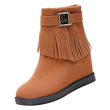 920d2f899184 Femme Chaussures de confort Polyuréthane Automne Décontracté Bottes Talon  Plat Bout rond Bottine   Demi Botte Noir   Brun claire