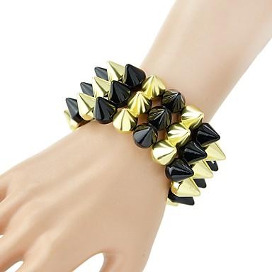 abordables Bracelet-Large bracelet Femme Rivet Inspirer dames Basique Mode Bracelet Bijoux Dorée Forme de Cercle pour Quotidien Ecole