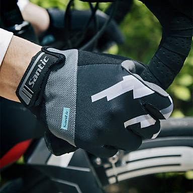 abordables Gants Velo-SANTIC Gants vélo / Gants Cyclisme Ecran Solaire Respirable Anti-transpiration Protection Solaire Gant Tactile Gants sport Maille VTT Vélo tout terrain Noir pour Adulte Extérieur