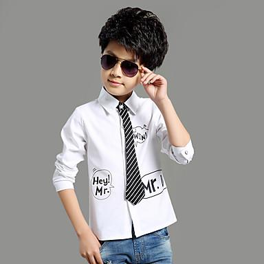 baratos Camisas para Meninos-Infantil Para Meninos Básico Escola Feriado Sólido Manga Longa Padrão Algodão Camiseta Branco