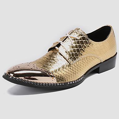 muške svečane cipele nappa proljeće casual / britanski oxfords neklizajuće zlato / party& večer