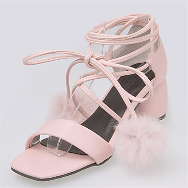 20f7009fefa7 Women s Strappy Stacked Heels PU(Polyurethane) Summer Sweet Sandals Chunky  Heel Open Toe Pom-pom White   Black   Pink   Wedding