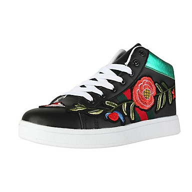 Appena Per Donna Scarpe Comfort Microfibra Autunno Sneakers Piatto Punta Chiusa Oro - Bianco - Nero #06958642 Materiali Superiori
