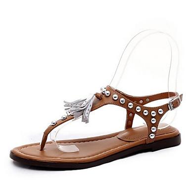 رخيصةأون صنادل نسائية-نسائي أحذية الراحة Leather نابا الربيع صنادل كعب منخفض أبيض / بني فاتح