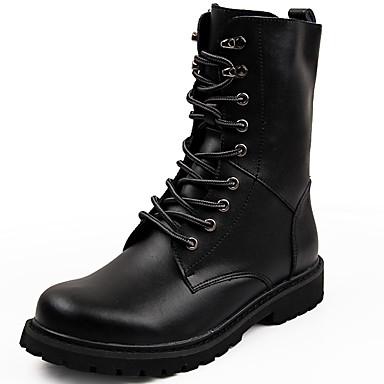 בגדי ריקוד גברים Fashion Boots עור סתיו חורף יום יומי מגפיים שמור על חום הגוף מגפיים באורך אמצע - חצי שוק שחור / חום / בָּחוּץ