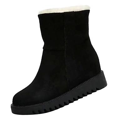 Žene Čizme za snijeg PU Zima Ležerne prilike Čizme Niska potpetica Čizme do pola lista Crn / Bijela / Deva