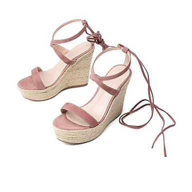 cheap Going to the beach-Women's Sandals Comfort Shoes Wedge Heel Suede Spring Black / Pink / Almond