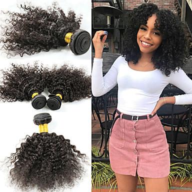 baratos Extensões de Cabelo Natural-3 pacotes Cabelo Brasileiro Afro Kinky Kinky Curly 10A Cabelo Natural Remy Extensões de Cabelo Natural 8-26 polegada Natural Tramas de cabelo humano Melhor qualidade Nova chegada Venda imperdível