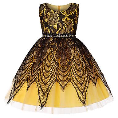 رخيصةأون ملابس الأميرات-فستان طول الركبة بدون كم دانتيل / شريطة بقع مناسب للحفلات / مناسب للعطلات رياضي Active / حلو للفتيات أطفال / طفل صغير