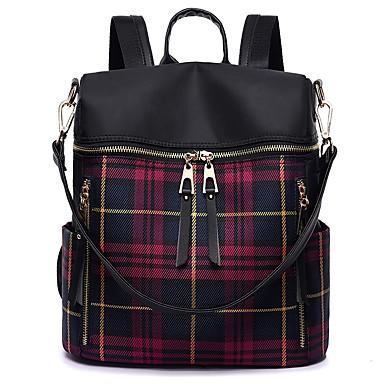 cheap Backpacks-PU Zipper School Bag Geometric Pattern Sports & Outdoor Blue / Red / Fall & Winter