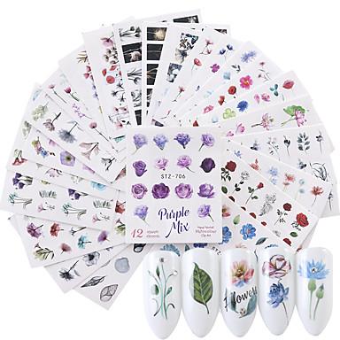 24 pcs 3D Negle Stickers Vandoverførings klistermærke Blomst Negle kunst Manicure Pedicure Øko Venlig / Multifunktionel Mode Daglig