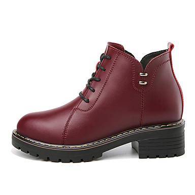 Dame Læder sko Syntetisk læder Efterår vinter Støvler Lave hæle Rund Tå Ankelstøvler Sort / Bourgogne