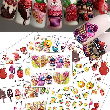 18 pcs 水転送ステッカー フルーツ / アイスクリーム用 ネイルアート マニキュアペディキュア 最高品質 甘い 日常