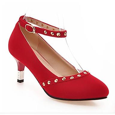 Kadın's Ayakkabı Süet / Mikrofiber Bahar Topuklular Stiletto Topuk Günlük için Siyah / Kırmzı