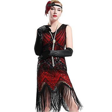 Den store Gatsby 1920-tallet Den store Gatsby De stormende 20-årene Kostume Dame Kjoler Flapperpannebånd i 1920-stil Hodeplagg Vintage halskjede Rød Svart Vintage Cosplay polyester Fest Skoleball