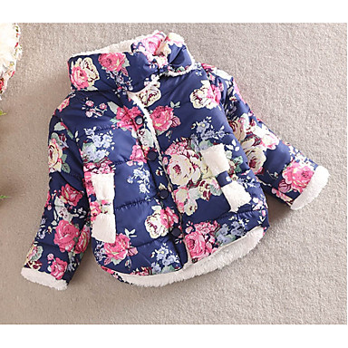 f153e688d Kids Girls' Basic Daily Polka Dot Floral Long Sleeve Regular Cotton  Polyester Down & Cotton Padded Blushing Pink
