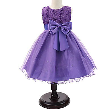 baratos Vestidos para Meninas-Bébé Para Meninas Doce Princesa Festa Floral Laço Multi Camadas Sem Manga Vestido Rosa claro