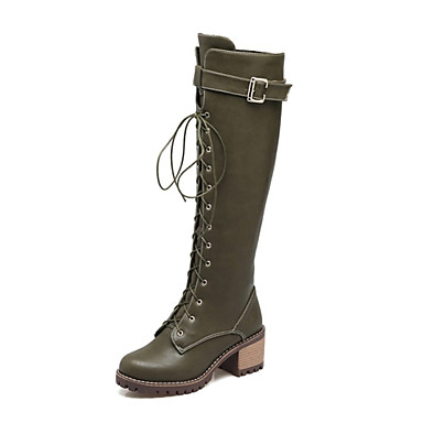 Dame PU Vinter Støvler Kraftige Hæle Rund Tå Knæhøje støvler Grå / Brun / Army Grøn