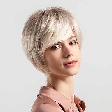 human hair capless wigs natural wave pixie cut / layered