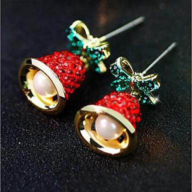 זול עגילים אופנתיים-בגדי ריקוד נשים עגילים צמודים 3D פעמון נשים מסוגנן קלסי דמוי פנינה אבן נוצצת עגילים תכשיטים זהב עבור חג מולד יומי זוג 1