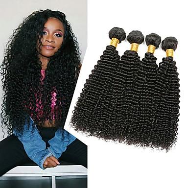4 paketića Peruanska kosa Kinky Curly Ljudska kosa Headpiece Produžetak Bundle kose 8-28 inch Natural Prirodna boja Isprepliće ljudske kose Svilenkast proširenje Rasprodaja Proširenja ljudske kose