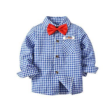 Bambino Da Ragazzo Essenziale Tinta Unita Manica Lunga Standard Cotone Camicia Blu - Bambino (1-4 Anni) #07026208 Con Metodi Tradizionali