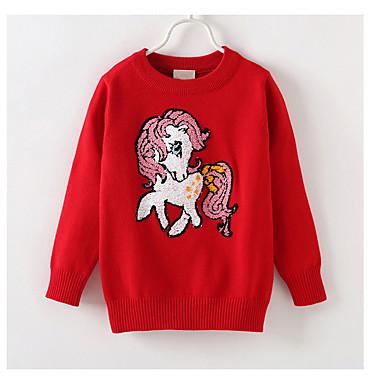 baratos Suéteres & Cardigans para Meninas-Infantil Para Meninas Básico Diário Sólido Manga Longa Padrão Algodão Suéter & Cardigan Vermelho