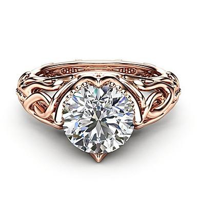 e22e42f2edb2 abordables Anillo-Mujer Claro Diamante Zirconia Cúbica Anillo Cobre Rosa  Oro Plateado Diamante Sintético Árbol