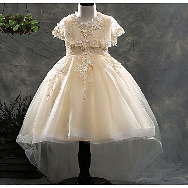 baratos Princesa-Infantil Para Meninas Activo Diário Sólido Laço Manga Curta Altura dos Joelhos Vestido Branco