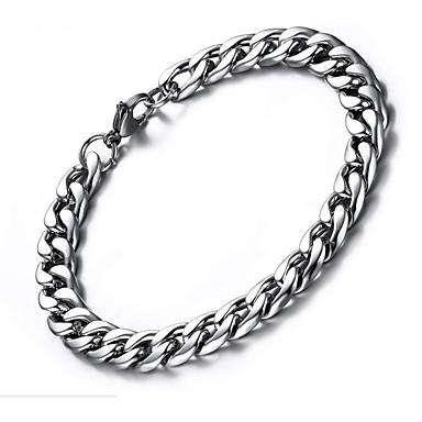 voordelige Herensieraden-Heren Armband Dikke ketting Paperclip Eenvoudig Modieus Roestvrij staal Armband sieraden Zilver Voor Lahja Dagelijks